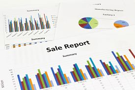 Sale report Graph Calculations savings finances and economy concept.