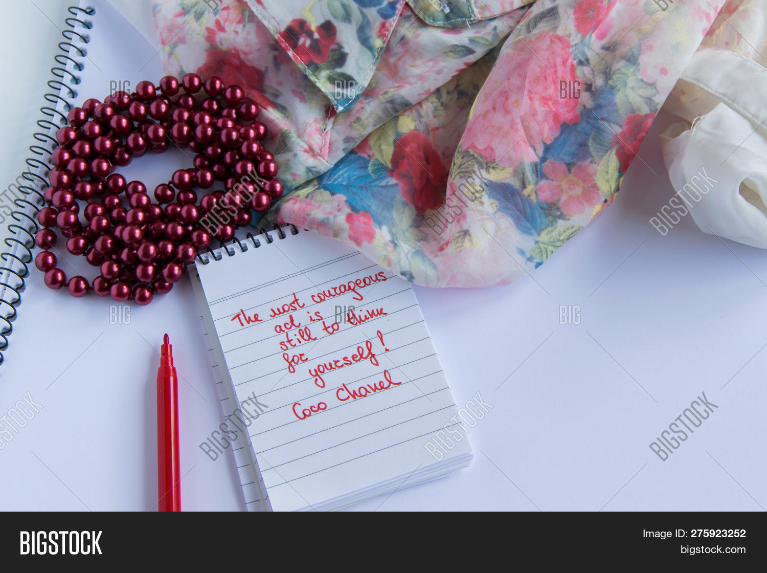 872b0b8e0 Coco Chanel Quotes Written On A Block Note, Pearl Accessories And And Silky Flower  Shirt