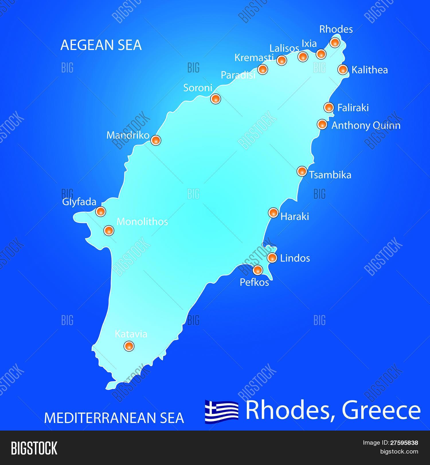 Isla De Rodas Mapa.Vector Y Foto Isla De Rodas En Prueba Gratis Bigstock