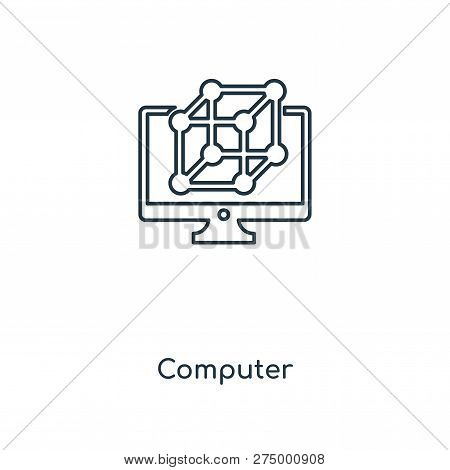 Computer Icon In Trendy Design Style. Computer Icon Isolated On White Background. Computer Vector Ic