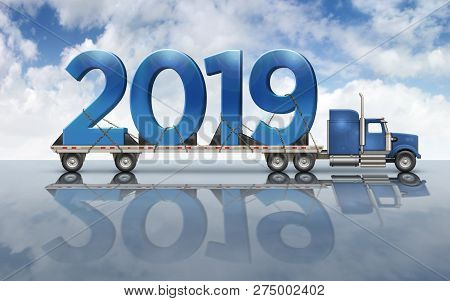 3d Illustration Of The Year 2019 On A Flatbed Truck Set On A Reflective Surface With A Sky Backgroun