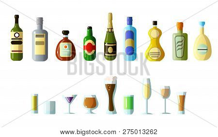 Ollection Of Different Alcoholic Beverages In Bottles With Glasses Of Different Shapes. Vodka, Champ