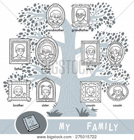 Vector Cartoon Family Tree With Images Of People In Frames. A Visual Dictionary Of Family Members.