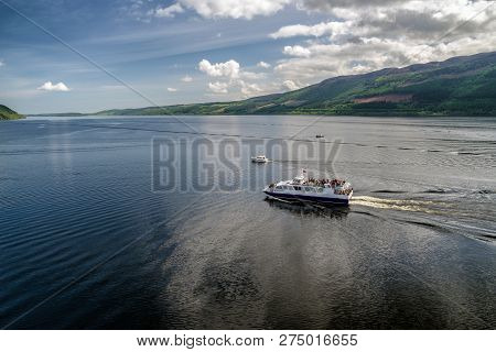 Loch Ness, Scotland, May 23: Cruise Ship On Lake Loch Ness Full Of Tourists On May 23, 2018 In Loch