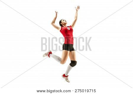 Female Professional Volleyball Player Isolated On White. The Athlete, Exercise, Action, Sport, Healt