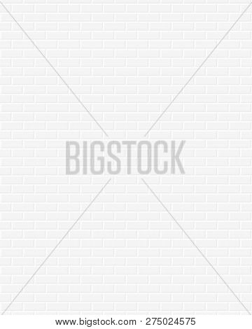 White Brick Wall Background. Vertical Pattern. Vector.