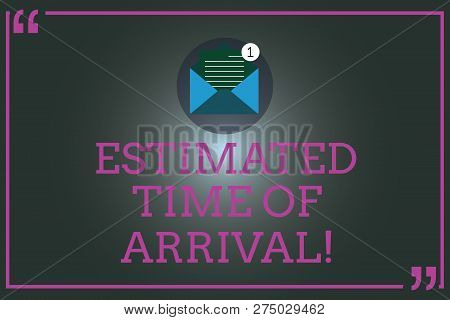 Writing note showing Estimated Time Of Arrival. Business photo showcasing Hours at which a flight is supposed to arrive Open Envelope with Paper Email Message inside Quotation Mark. poster