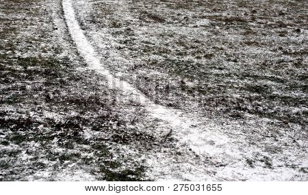 The Path In The Field At The Beginning Of Winter.