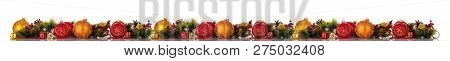 Horizontal Banner. Christmas Composition, Colored Balls, Pine Branches And Cones, Gifts, Isolated On