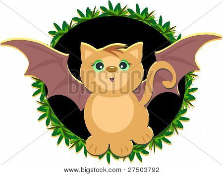 Here is a cute Cat with bat wings, surrounded by plants. poster