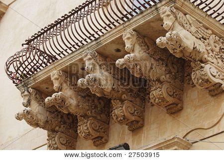 winged horse under the balcony, Noto, Sicily