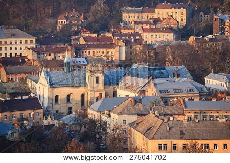 Lviv, City View, Historical City Center, Ukraine. Lviv Roofs. The Church And Convent Of The Benedict