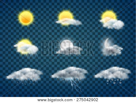 Day And Night Weather Forecast App Realistic Vector Icons Set Isolated On Transparent Background. Su