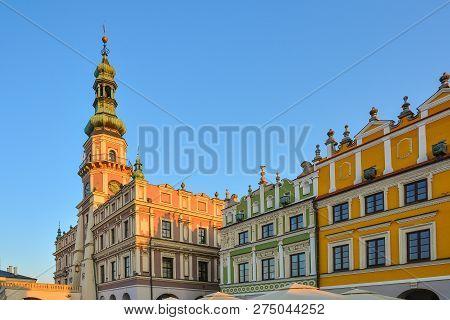 Great Market Square, Zamosc, Poland - September, 21, 2018: Zamosc Town Hall On Great Market Square.