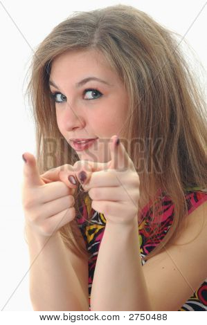 Attractive Girl Show On You Her Fingers