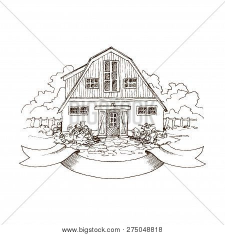 Rural Landscape With Old Farmhouse And Garden. Hand Drawn Illustration In Vintage Style. Large Resid