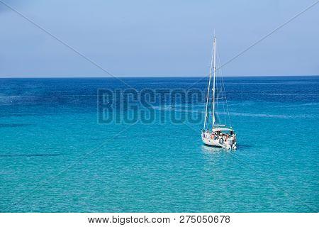Sailboat In The Sea Luxury Summer Adventure, Active Vacation In Mediterranean Sea, Ibiza Island