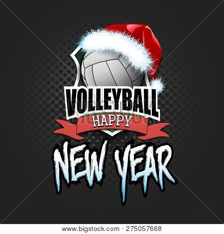 Christmas And New Year Pattern. Volleyball Logo Template Design. Volleyball Ball With Santa Hat. Pat