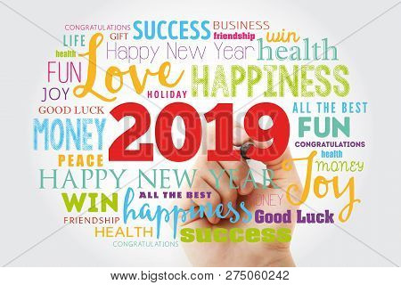 2019 Year Greeting Word Cloud With Marker, Happy New Year Celebration Greeting Card
