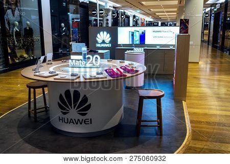 Prague, Czech Republic - December 14 2018: Huawei Telecommunications Equipment And Electronics Compa