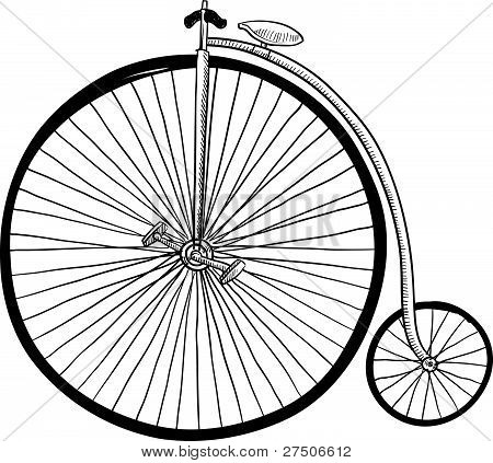 Old fashioned bicycle sketch