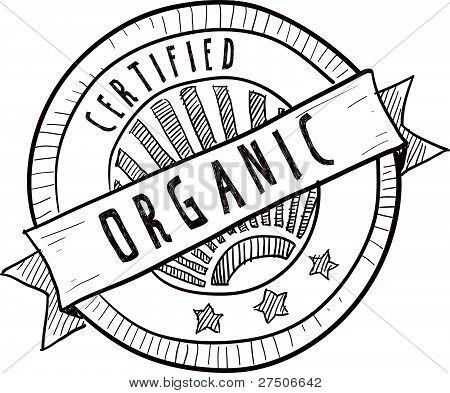 Organic food label sketch