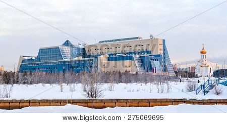 Russia, Surgut, 12/20/2018: Panorama Of Surgut University And The Church Of The Holy Martyr Tatiana