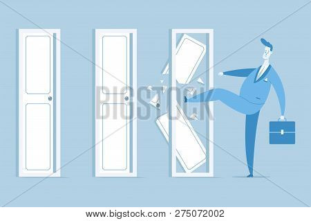 Businessman In A Suit With A Suitcase Break Closed Doors. Vector Concept Flat Illustration.