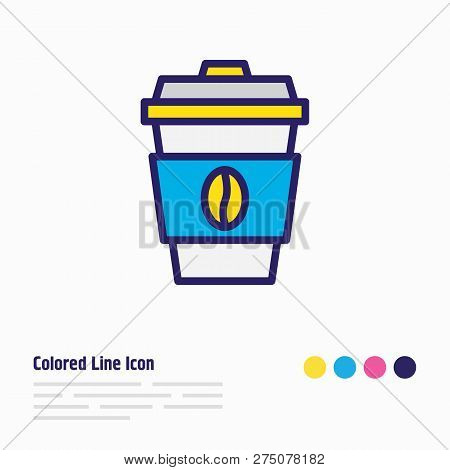 Vector Illustration Of Coffee Icon Colored Line. Beautiful Lifestyle Element Also Can Be Used As Dec