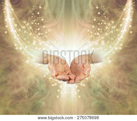 Golden Healing Resonance  - Female Cupped Hands Emerging From Arc Of Shimmering Sparkles On A Glowin