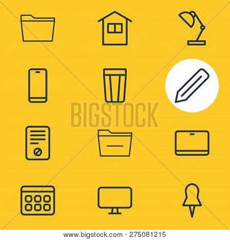 Vector illustration of 12 office icons line style. Editable set of minus, pushpin, ban and other icon elements. poster