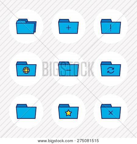 Illustration Of 9 Document Icons Colored Line. Editable Set Of Delete Folder, Shared Folder, Remove