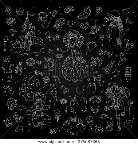 Set Of Teenage Girl Line Icons, Cute Cartoon Teen Objects, Fun Line Design Vector In Teenager Girls