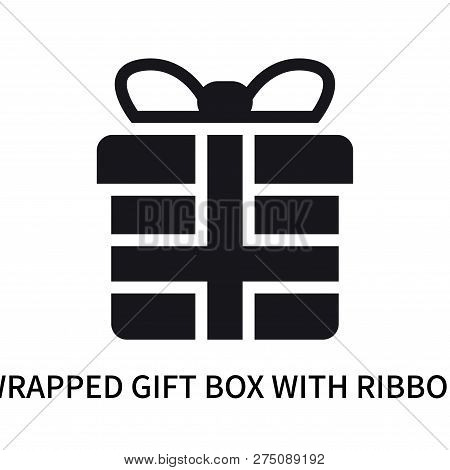 Wrapped Gift Box With Ribbon Icon Isolated On White Background. Wrapped Gift Box With Ribbon Icon Si
