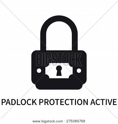 Padlock Protection Active Icon Isolated On White Background. Padlock Protection Active Icon Simple S