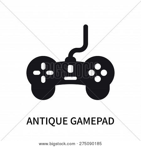 Antique gamepad icon isolated on white background. Antique gamepad icon simple sign. Antique gamepad icon trendy and modern symbol for graphic and web design. Antique gamepad icon flat vector illustration for logo, web, app, UI. poster