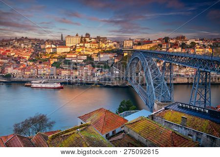 Porto, Portugal. Aerial Cityscape Image Of Porto, Portugal With The Douro River And The Luis I Bridg