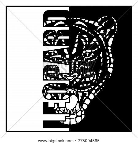 de5b3a9b8 Vector image of the head of a leopard. The growling carnivore. Savanna  predator. Black tribal tattoo. Vector illustration.
