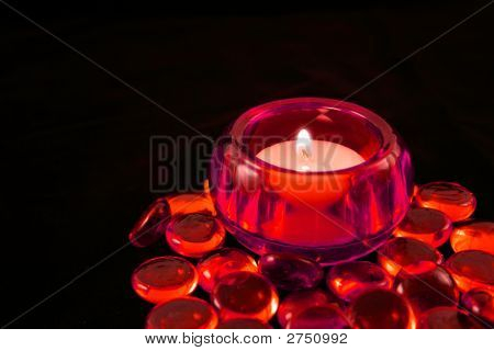 Candle With Red Glass Beads