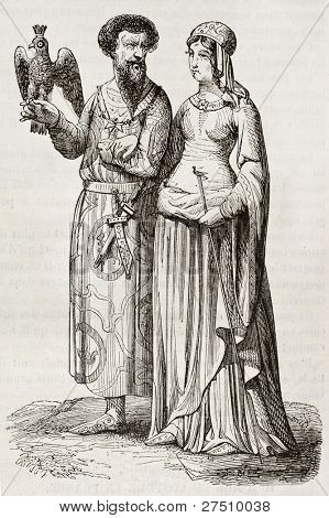 Medieval nobleman and noblewoman old illustration. Created by Herbe and Viel-Castel, published on Magasin Pittoresque, Paris, 1844
