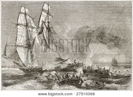 Slaver vessel escaping from military ship getting rid of slaves. Created by Morel-Fatio, published on Magasin Pittoresque, Paris, 1844