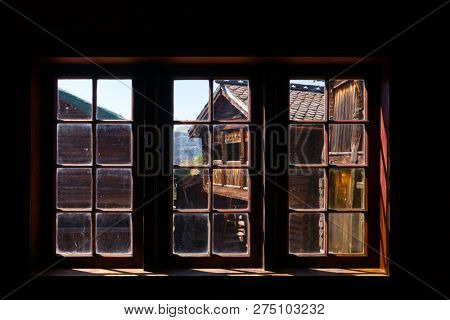 Old traditional Norwegian wooden house window,  Maihaugen Folks museum Lillehammer Oppland Norway Scandinavia poster
