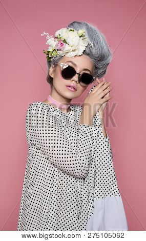Close Up Beauty Portrait In Barocco Style In Polka-dot Dress. Fashion Bright Pink Studio Background.