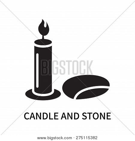 Candle And Stone Icon Isolated On White Background. Candle And Stone Icon Simple Sign. Candle And St