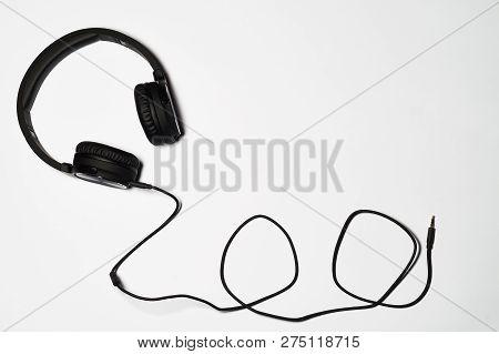 Black Audio Headphones Isolated On White Background
