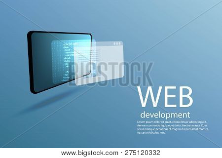 Web Development, Computer Technology, Website Build Concept. Poster With Tablet Pc, Html, Binary Cod