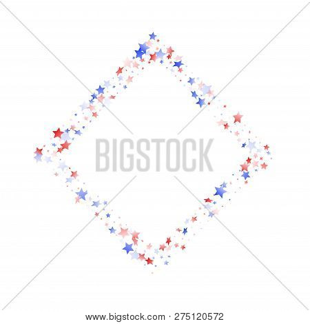 American Presidents Day Stars Background. Holiday Confetti In Us Flag Colors For President Day. Cool