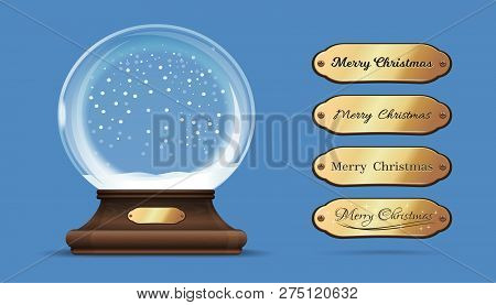 Christmas Empty Snow Globe With Interchangeable Gold Sign. Merry Christmas. Empty Snow Globe With Re