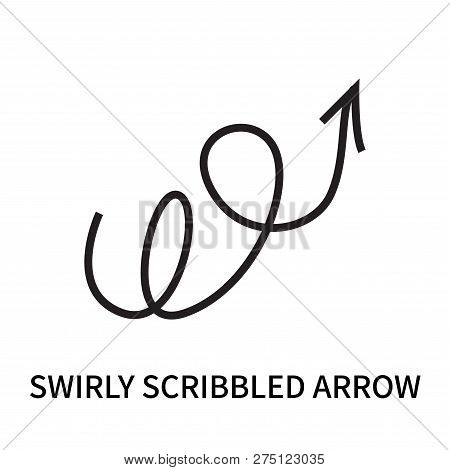 Swirly Scribbled Arrow Icon Isolated On White Background. Swirly Scribbled Arrow Icon Simple Sign. S