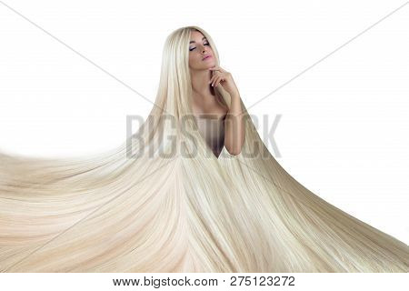 Beautiful Hair. Beauty Woman With Luxurious Long Hair As Background. Beauty Model Girl With Healthy